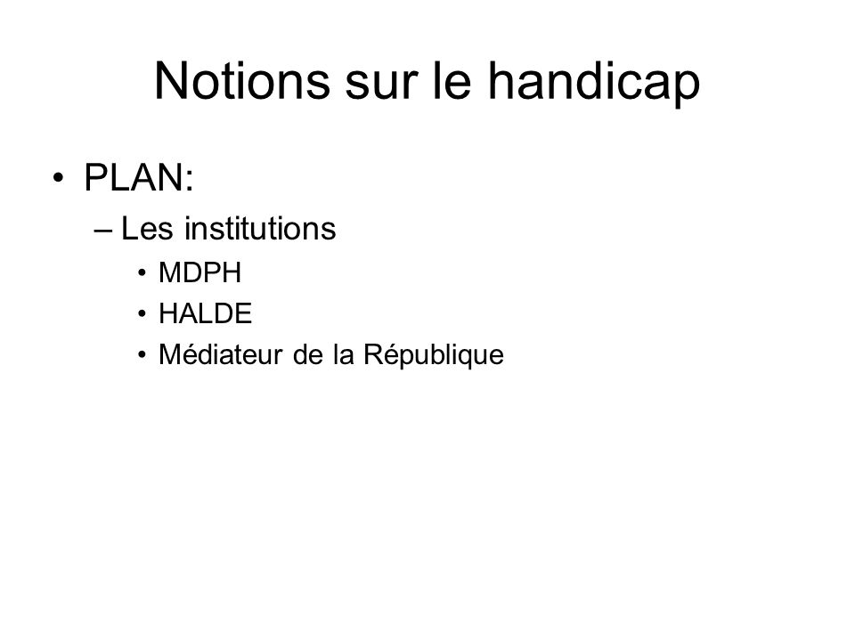 Notions sur le handicap