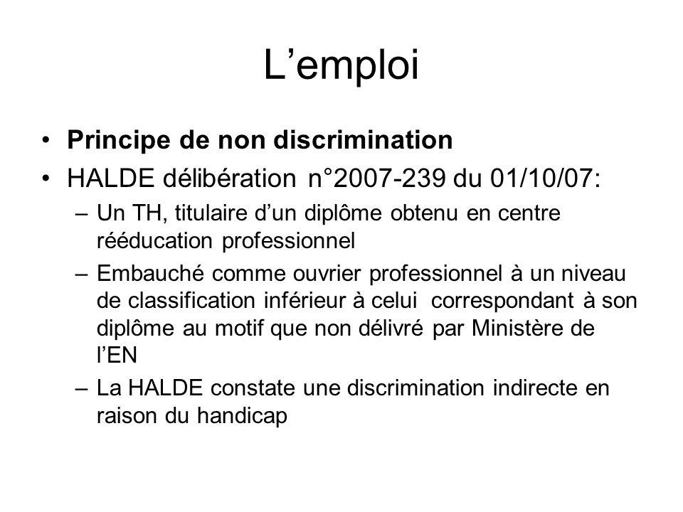 L'emploi Principe de non discrimination