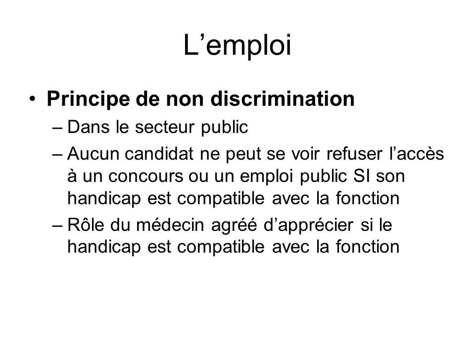 L'emploi Principe de non discrimination Dans le secteur public