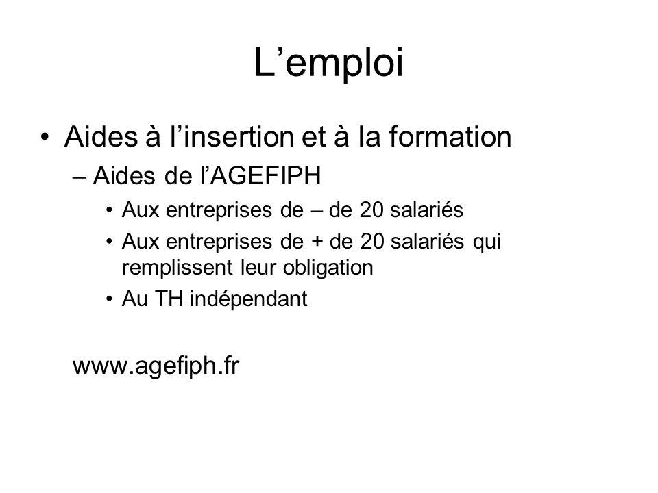 L'emploi Aides à l'insertion et à la formation Aides de l'AGEFIPH