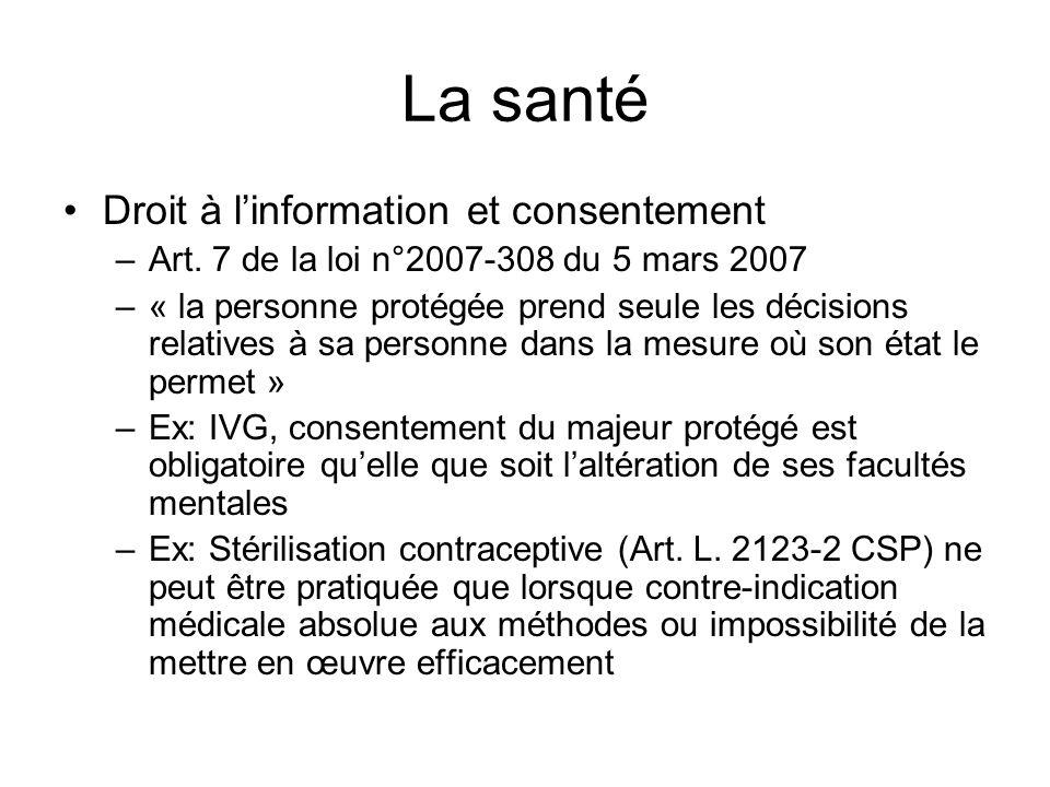 La santé Droit à l'information et consentement