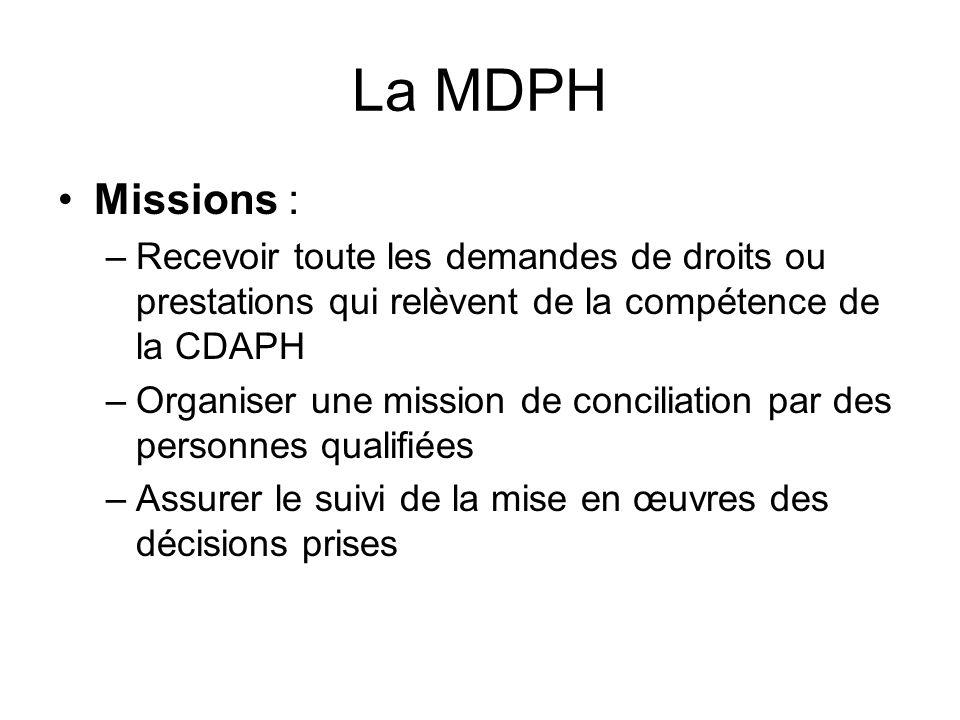 La MDPH Missions : Recevoir toute les demandes de droits ou prestations qui relèvent de la compétence de la CDAPH.