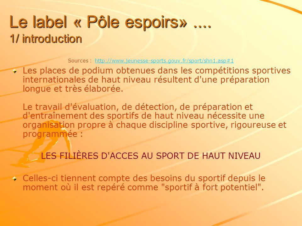 Le label « Pôle espoirs» .... 1/ introduction