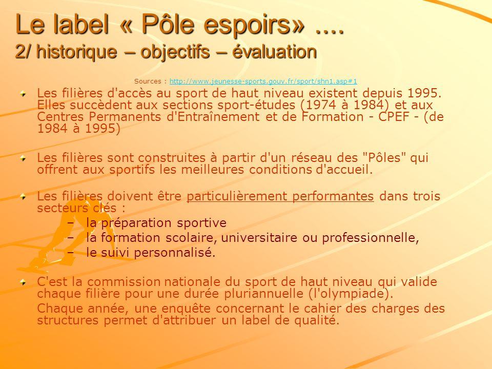 Le label « Pôle espoirs» .... 2/ historique – objectifs – évaluation
