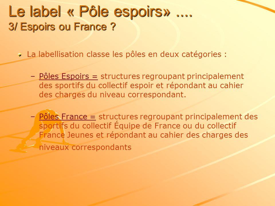 Le label « Pôle espoirs» .... 3/ Espoirs ou France