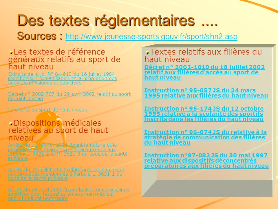 Des textes réglementaires. Sources : http://www. jeunesse-sports. gouv