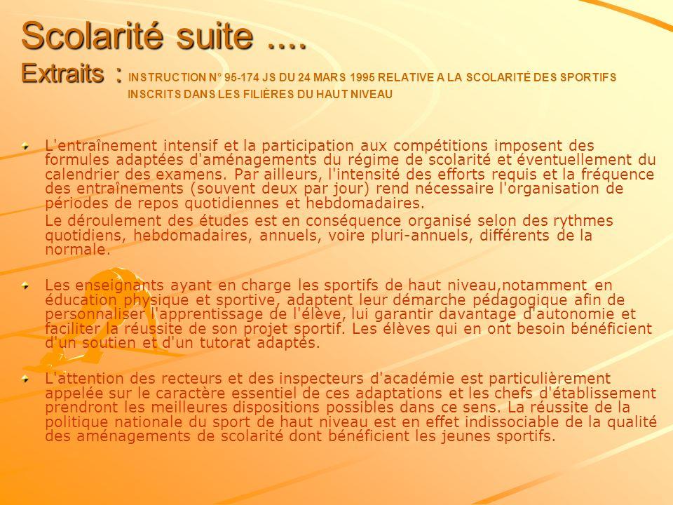 Scolarité suite .... Extraits : INSTRUCTION N° 95-174 JS DU 24 MARS 1995 RELATIVE A LA SCOLARITÉ DES SPORTIFS INSCRITS DANS LES FILIÈRES DU HAUT NIVEAU