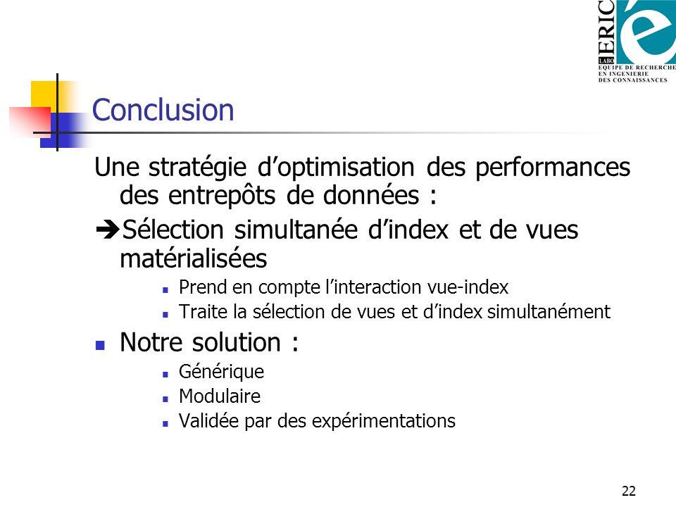 Conclusion Une stratégie d'optimisation des performances des entrepôts de données : Sélection simultanée d'index et de vues matérialisées.