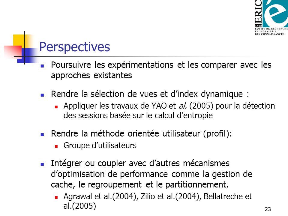 Perspectives Poursuivre les expérimentations et les comparer avec les approches existantes. Rendre la sélection de vues et d'index dynamique :