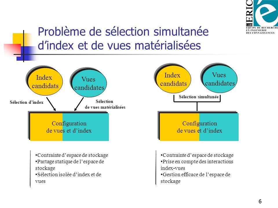 Problème de sélection simultanée d'index et de vues matérialisées