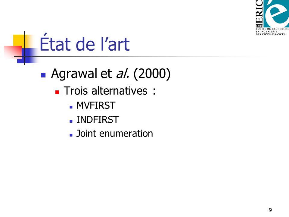État de l'art Agrawal et al. (2000) Trois alternatives : MVFIRST