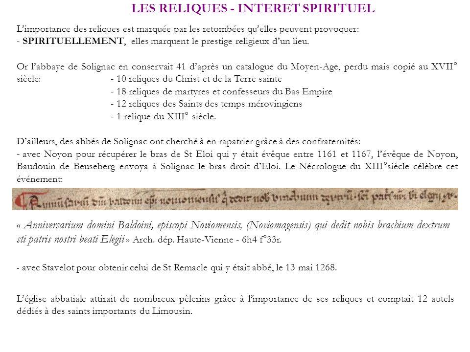 LES RELIQUES - INTERET SPIRITUEL