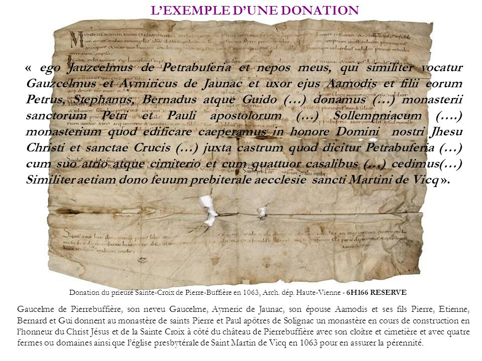 L'EXEMPLE D'UNE DONATION