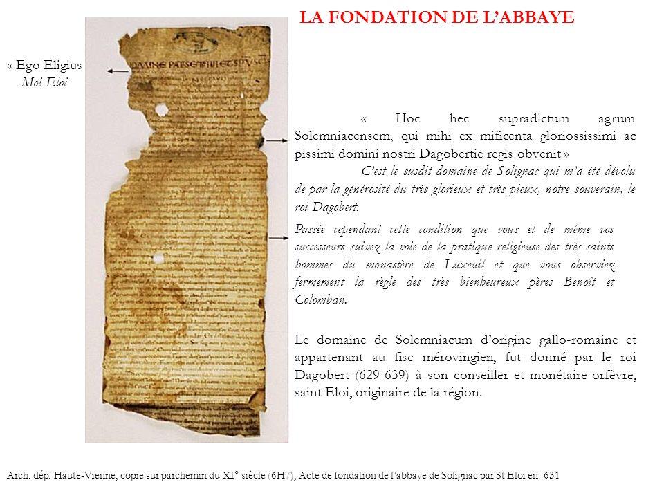 LA FONDATION DE L'ABBAYE