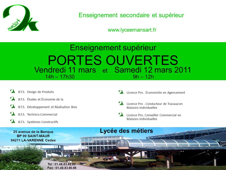 PORTES OUVERTES François Lycée Enseignement supérieur