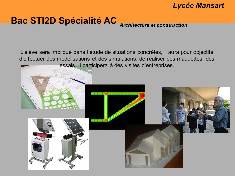 Bac STI2D Spécialité AC Lycée Mansart