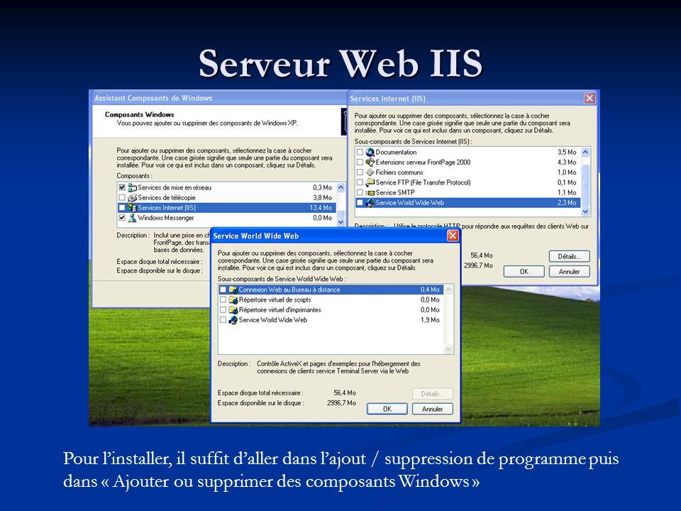 Serveur Web IIS Pour l'installer, il suffit d'aller dans l'ajout / suppression de programme puis dans « Ajouter ou supprimer des composants Windows »