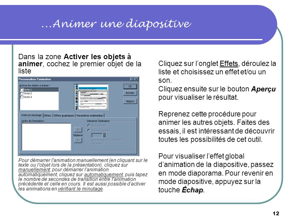 …Animer une diapositive