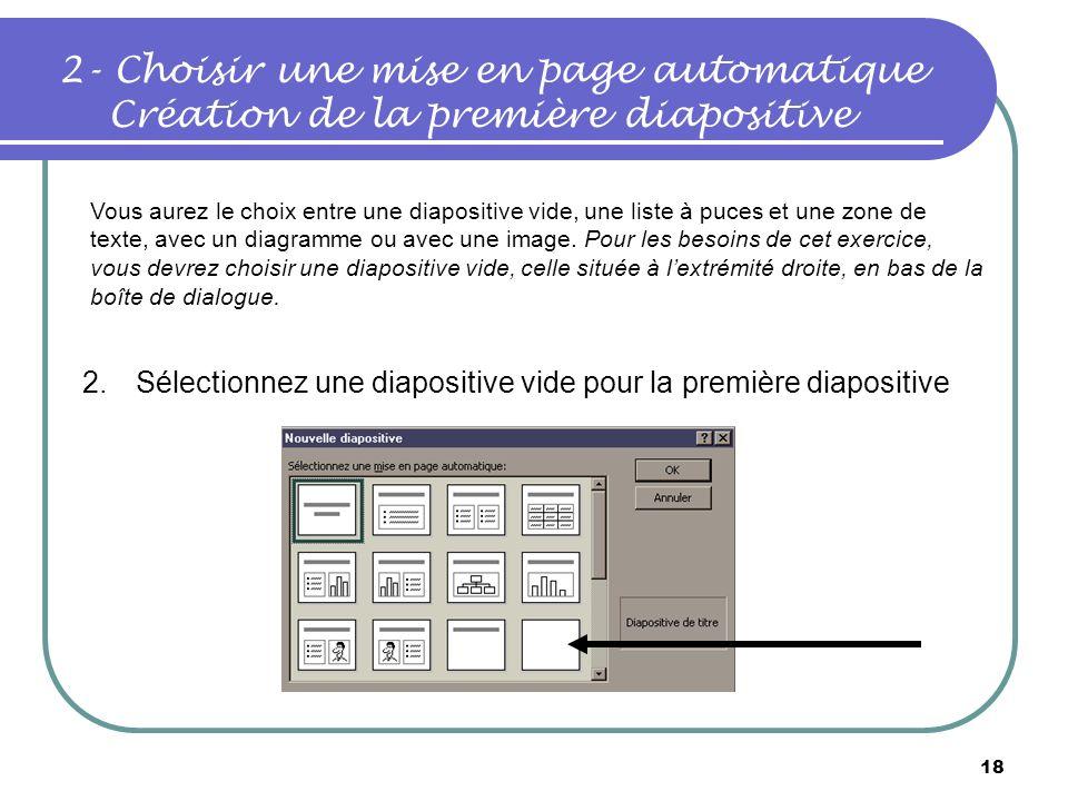2- Choisir une mise en page automatique Création de la première diapositive