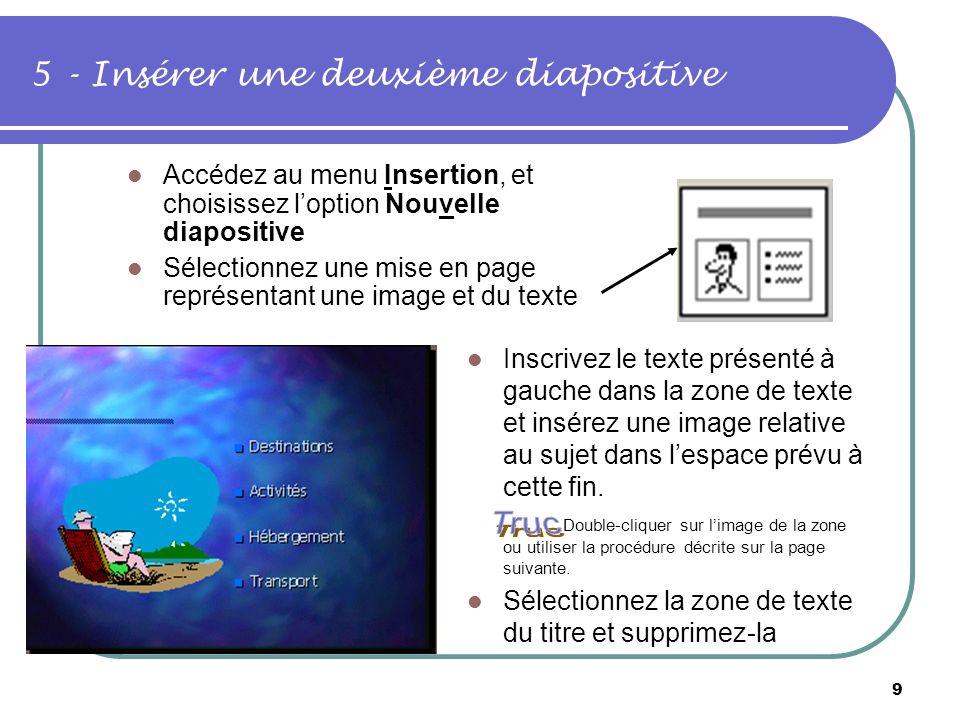 5 - Insérer une deuxième diapositive