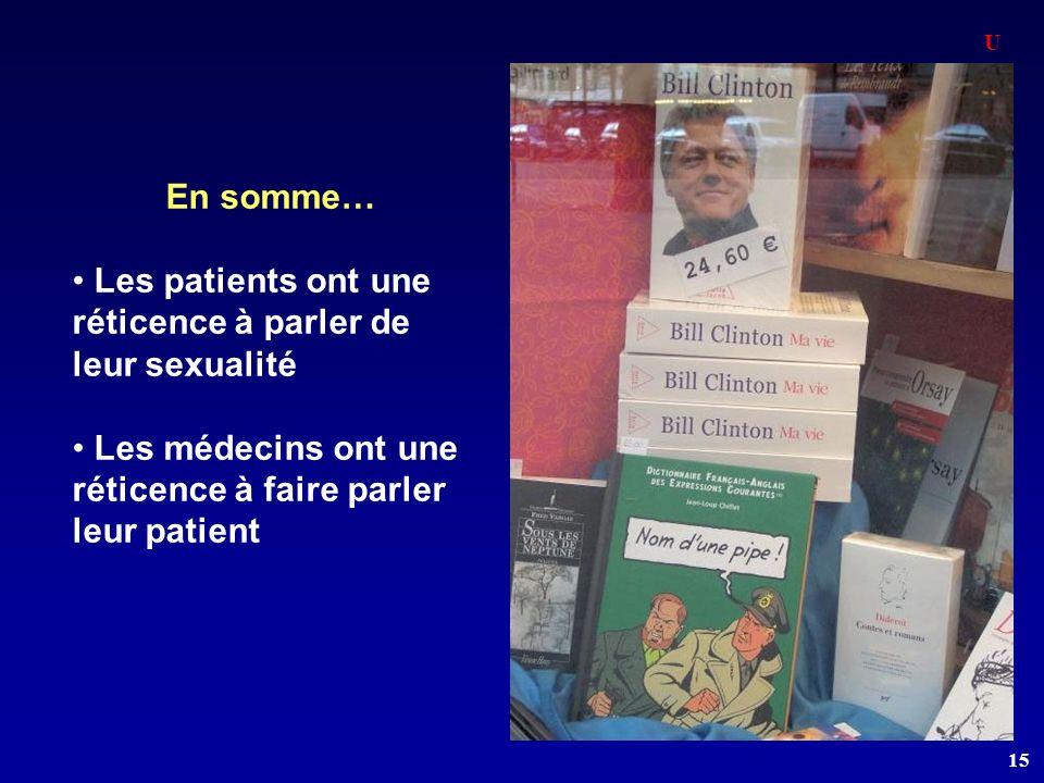 Les patients ont une réticence à parler de leur sexualité