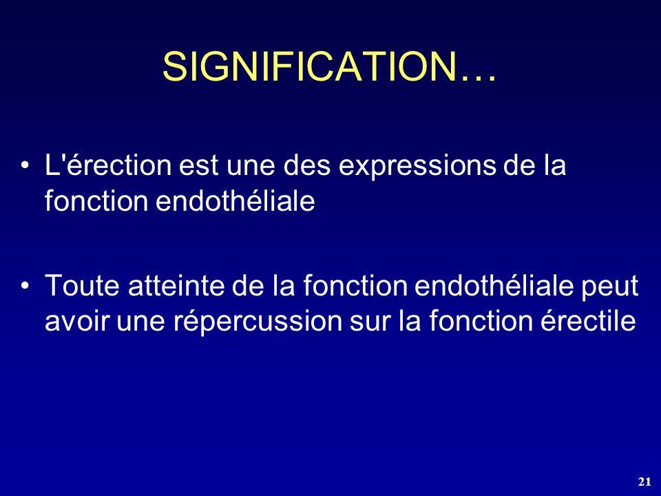 SIGNIFICATION… L érection est une des expressions de la fonction endothéliale.