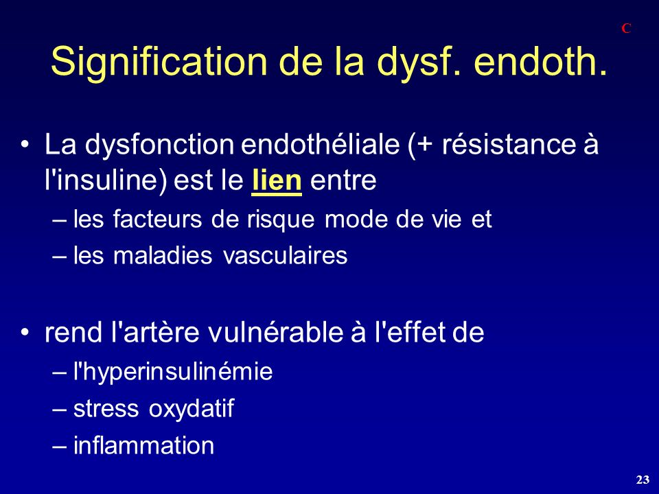Signification de la dysf. endoth.