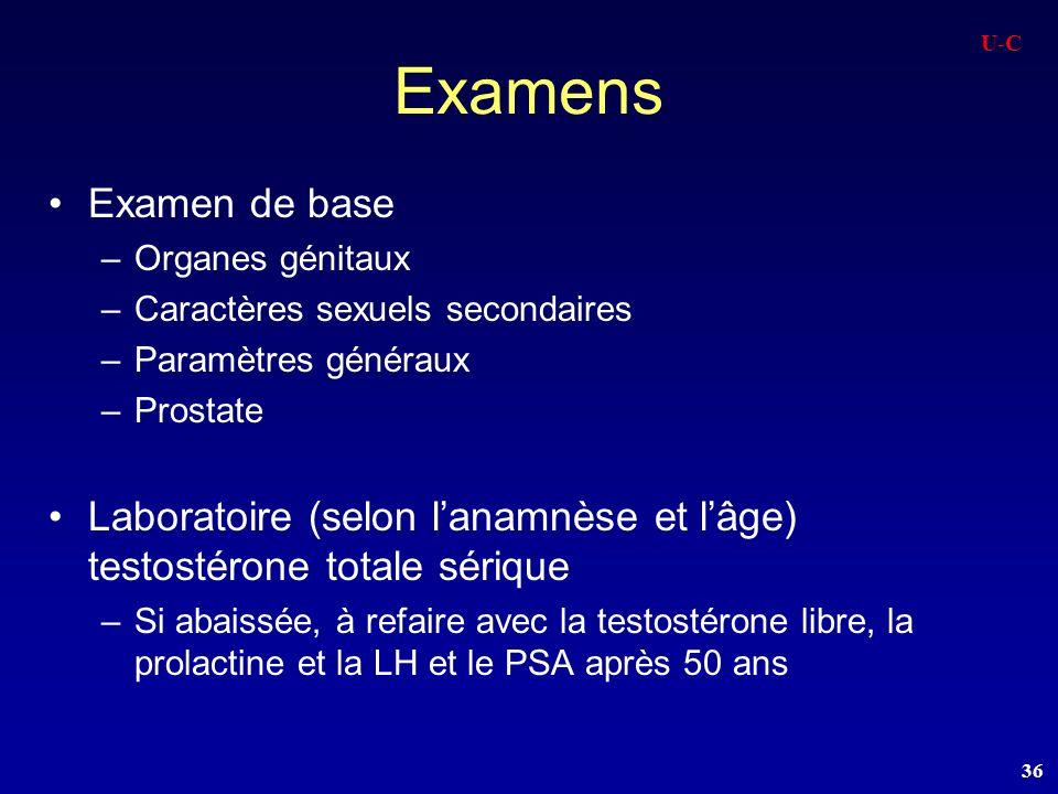 U-C Examens. Examen de base. Organes génitaux. Caractères sexuels secondaires. Paramètres généraux.