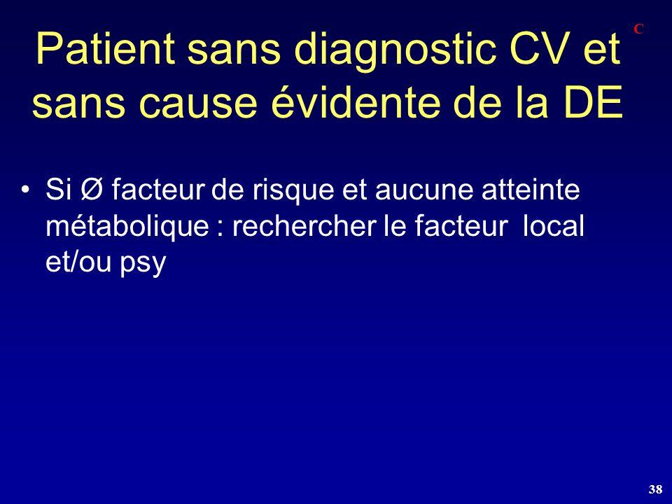 Patient sans diagnostic CV et sans cause évidente de la DE