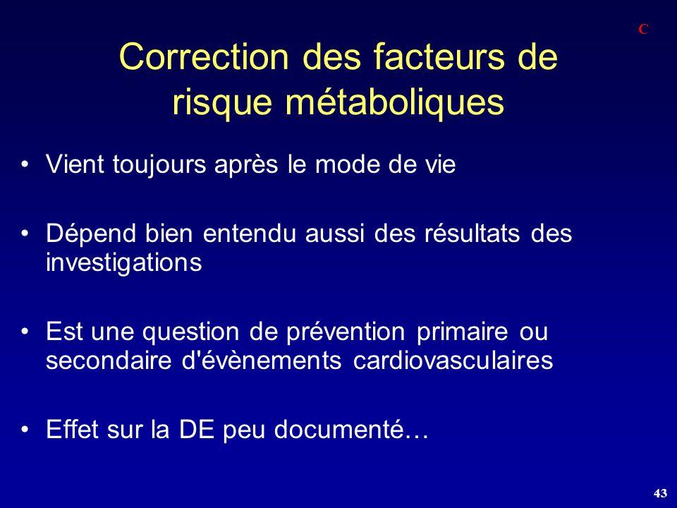 Correction des facteurs de risque métaboliques