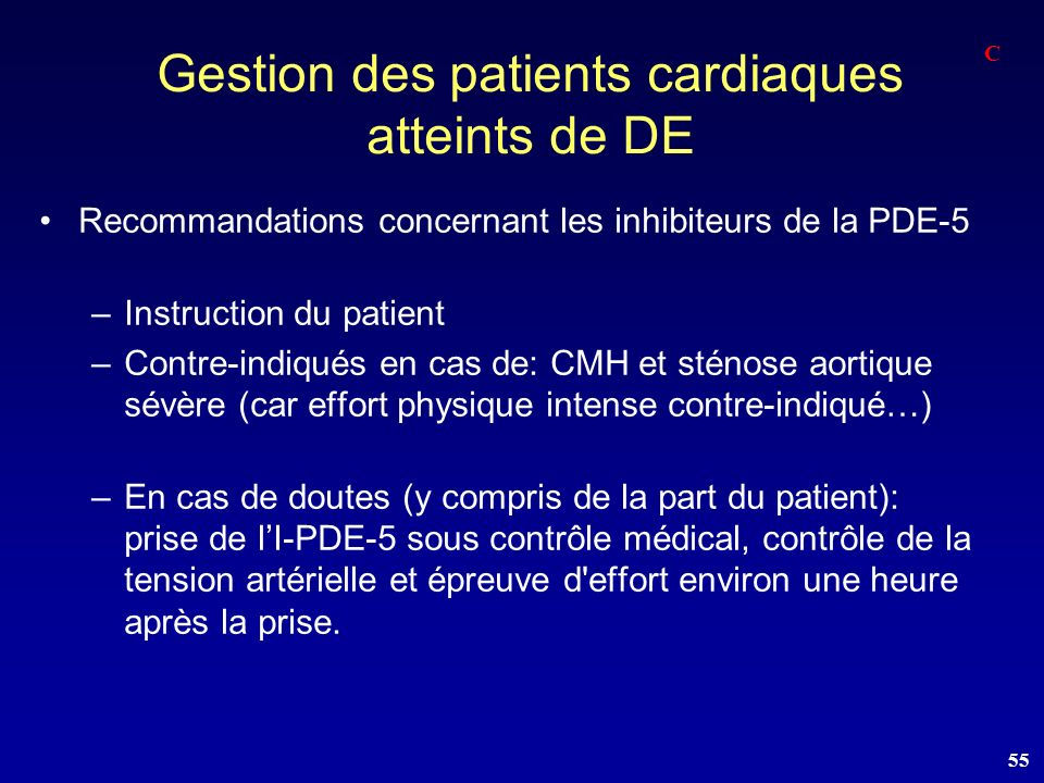 Gestion des patients cardiaques atteints de DE