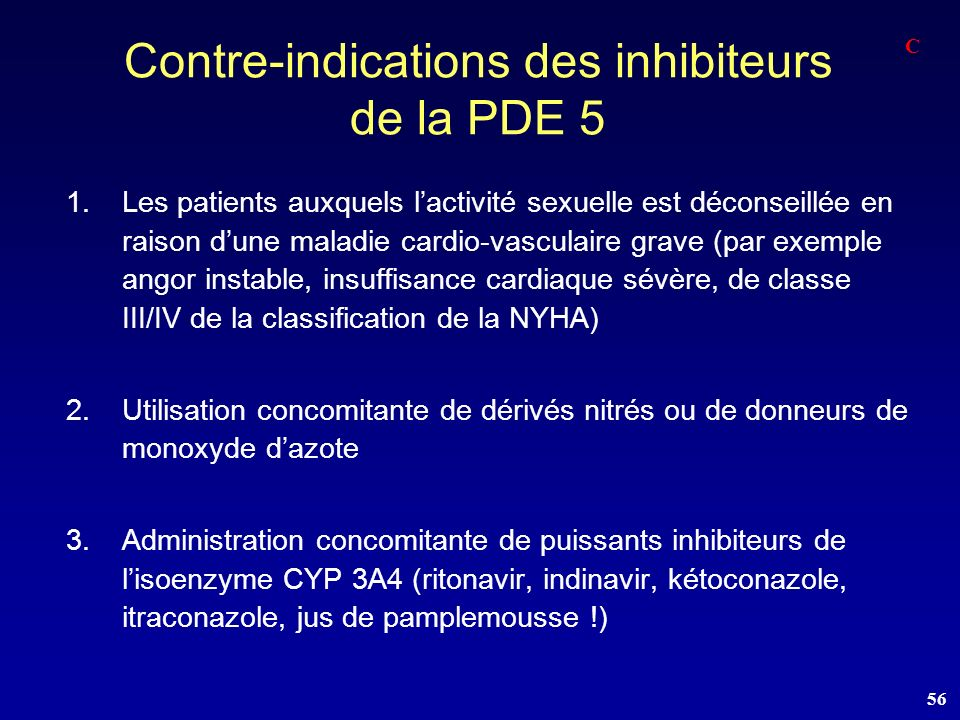 Contre-indications des inhibiteurs de la PDE 5
