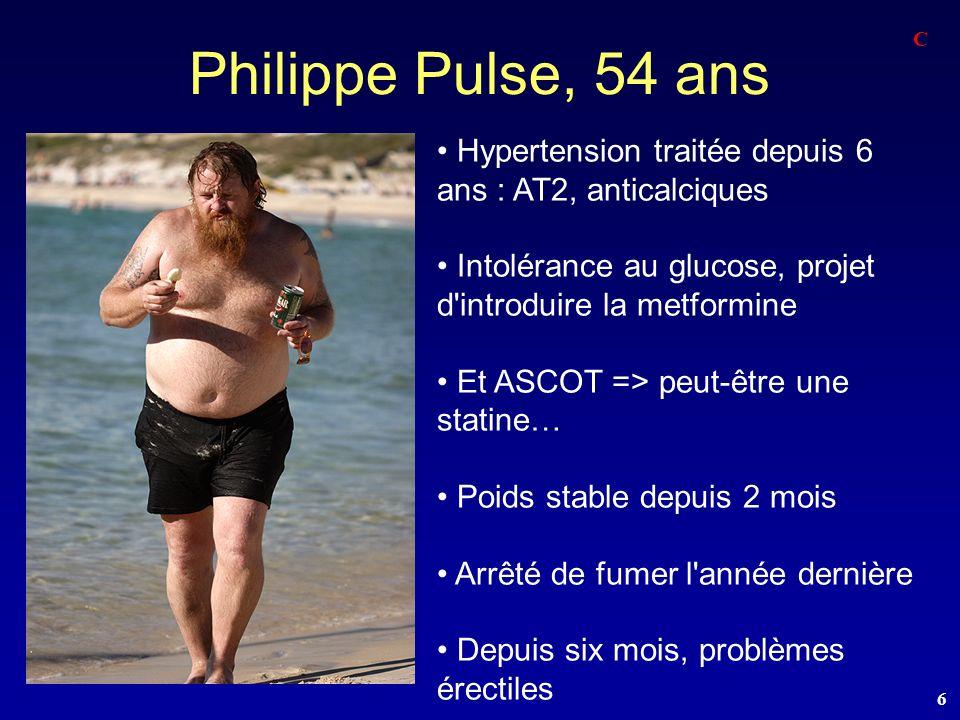Philippe Pulse, 54 ans C. Hypertension traitée depuis 6 ans : AT2, anticalciques. Intolérance au glucose, projet d introduire la metformine.