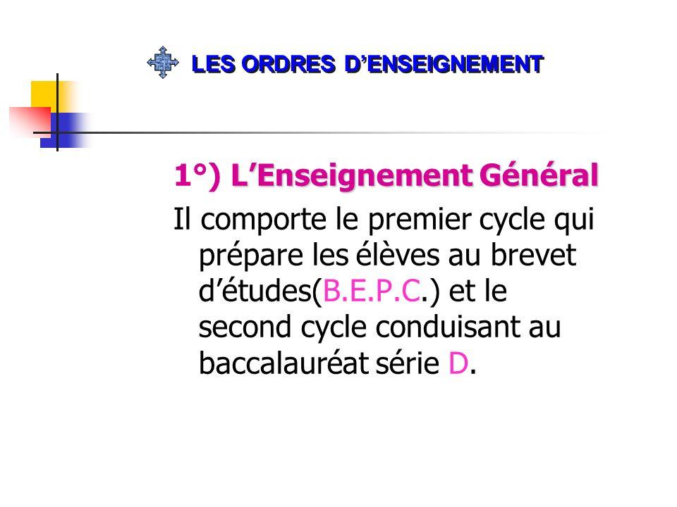 1°) L'Enseignement Général