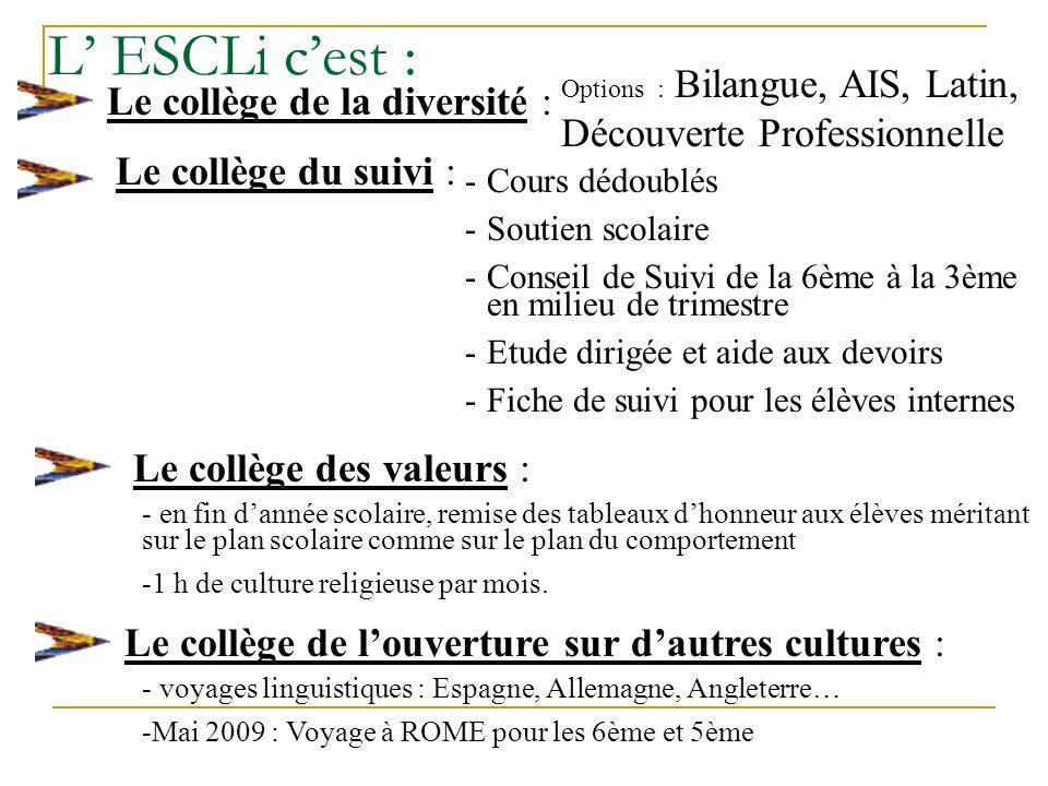 L' ESCLi c'est : Le collège de la diversité : Le collège du suivi :