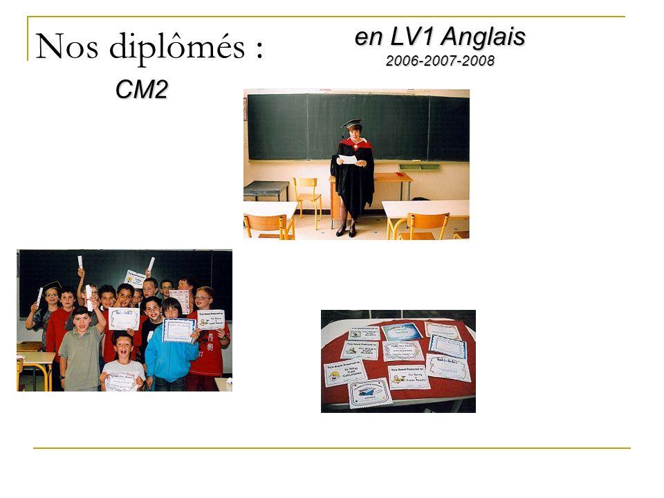 Nos diplômés : en LV1 Anglais CM2 2006-2007-2008