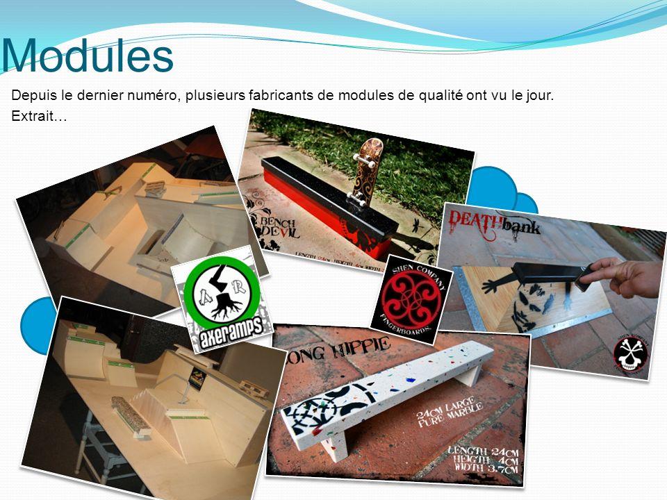Modules Depuis le dernier numéro, plusieurs fabricants de modules de qualité ont vu le jour.