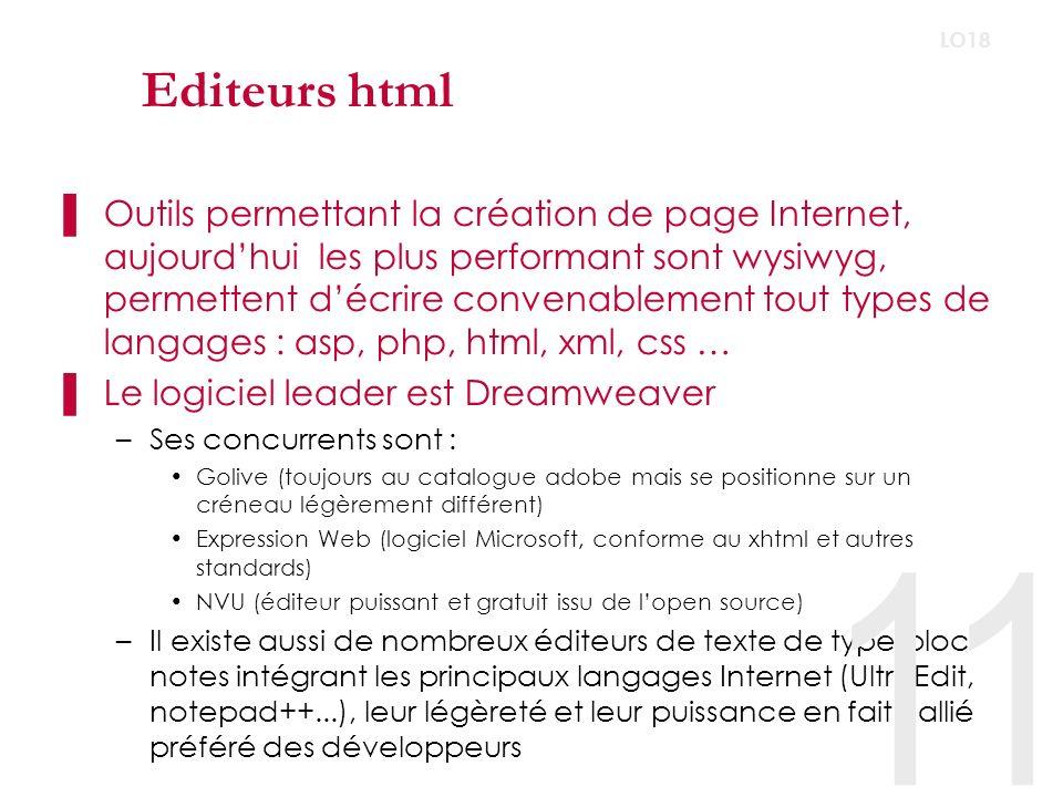 Editeurs html LO18.
