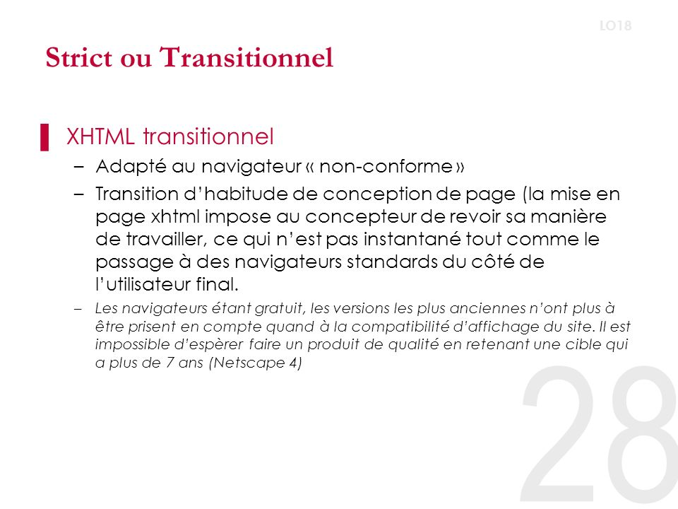 Strict ou Transitionnel