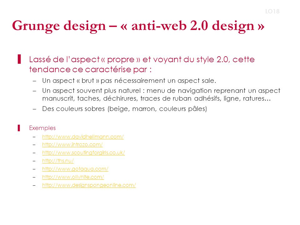 Grunge design – « anti-web 2.0 design »