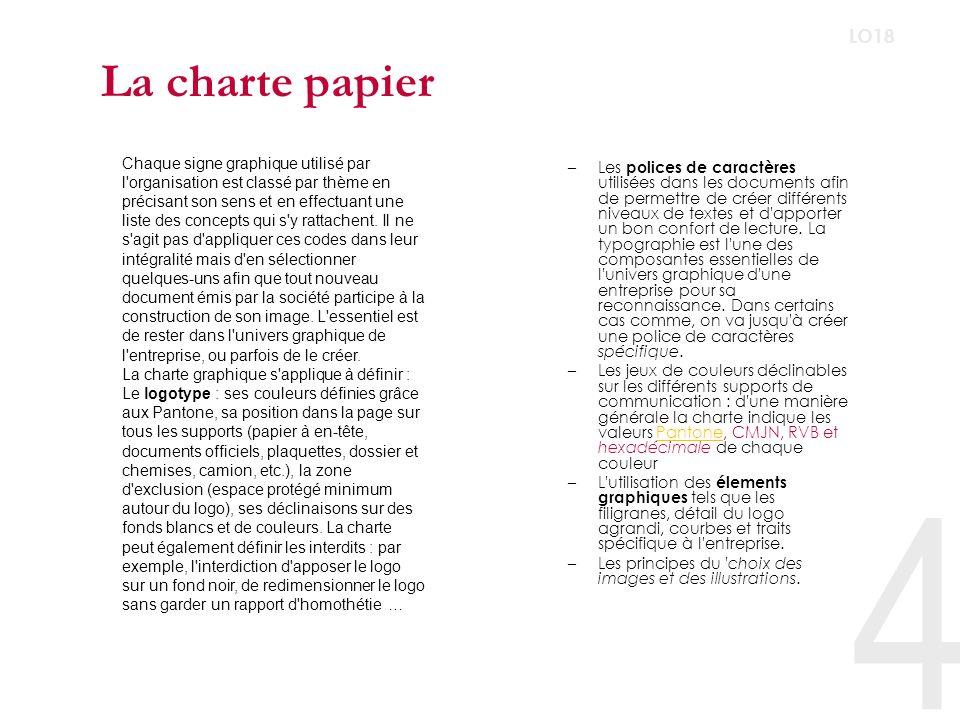 La charte papier LO18.