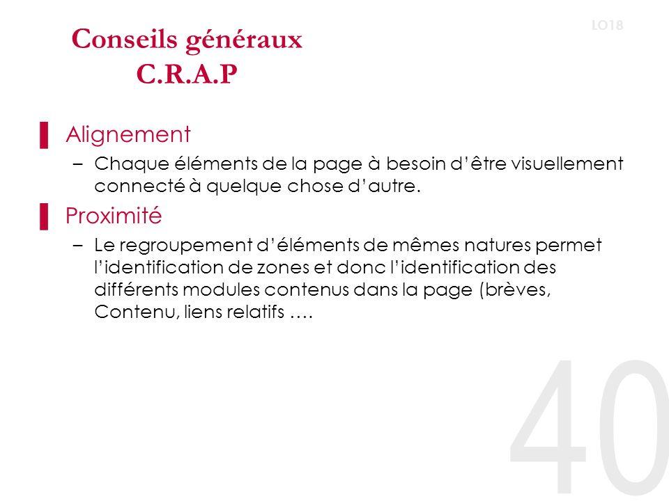 Conseils généraux C.R.A.P