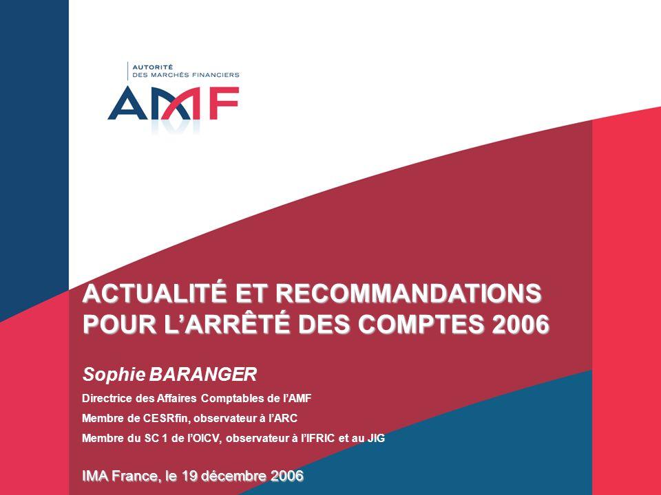 ACTUALITÉ ET RECOMMANDATIONS POUR L'ARRÊTÉ DES COMPTES 2006