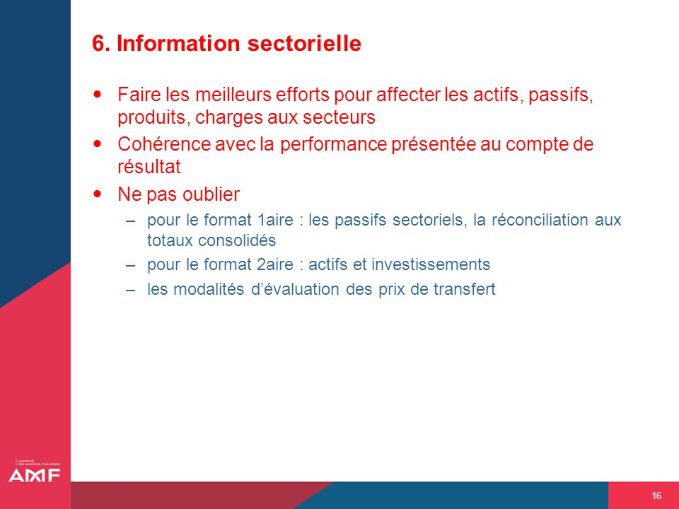 6. Information sectorielle