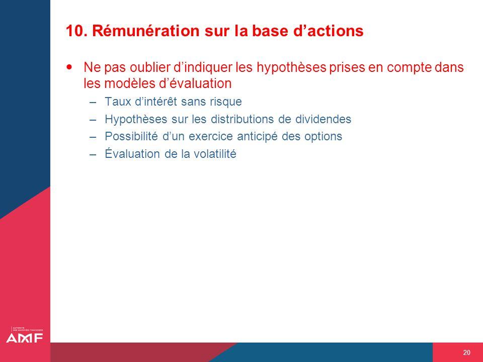 10. Rémunération sur la base d'actions