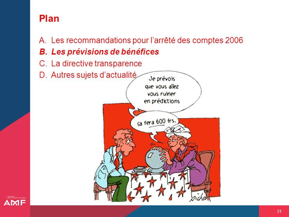 Plan Les recommandations pour l'arrêté des comptes 2006