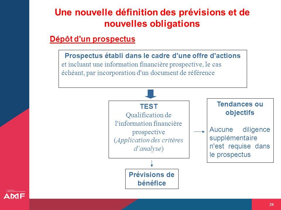 Une nouvelle définition des prévisions et de nouvelles obligations