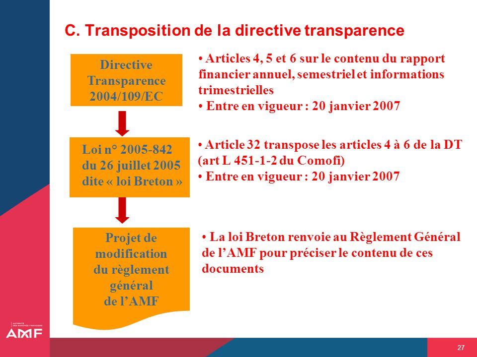 C. Transposition de la directive transparence