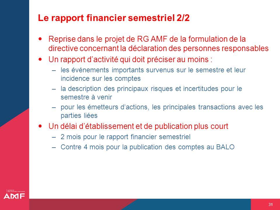 Le rapport financier semestriel 2/2