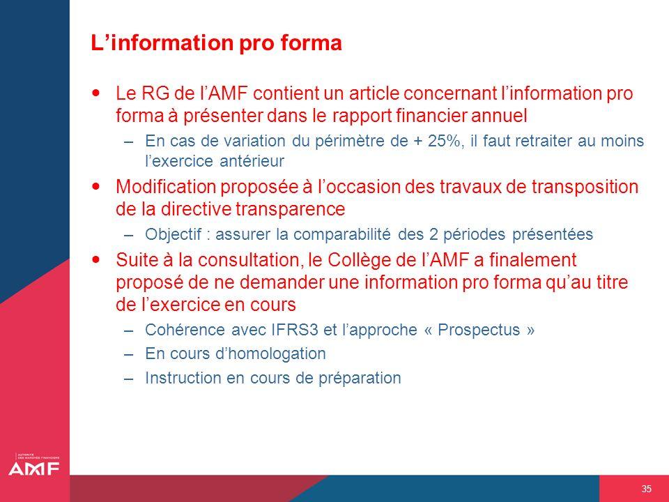 L'information pro forma